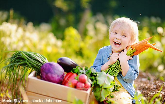 lachendes Kind vor einer Kiste voller Gemüse