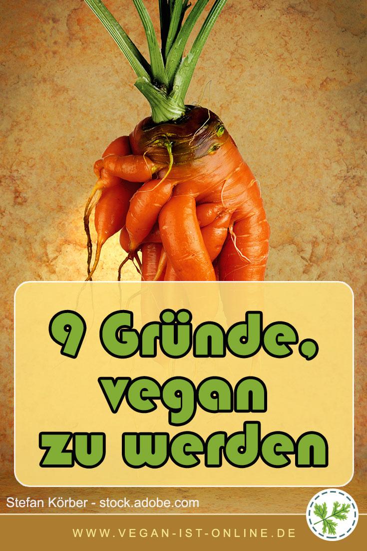 9 Gründe, vegan zu werden | Mehr Infos auf www.vegan-ist-online.de
