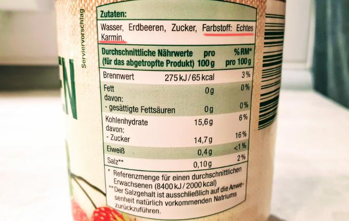 Inhaltsstoffe Dose Erdbeeren von Beste Ernte